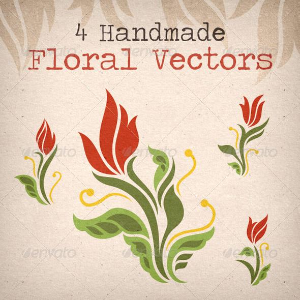 4 Handmade Red Rose Flower Vectors - Decorative Vectors