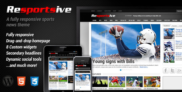 Resportsive - A New Responsive Sports News WordPress Theme