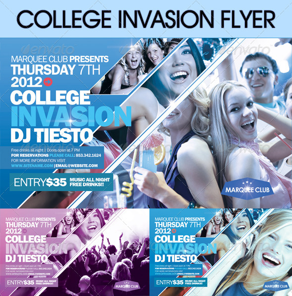 College Invasion Flyer  - Clubs & Parties Events