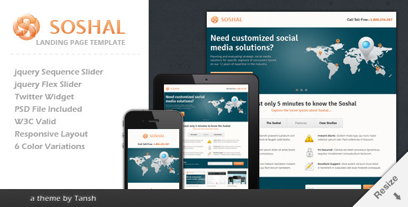ThemeForest Soshal Responsive Business Landing Page 2687227