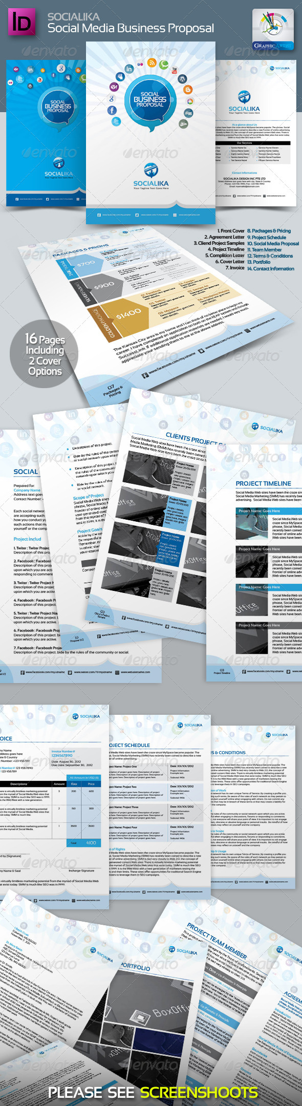Socialika Social Media Business Proposal - Proposals & Invoices Stationery