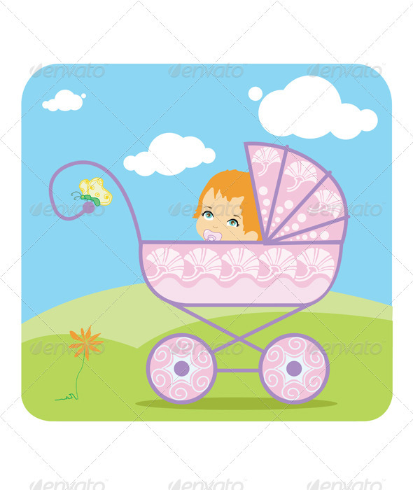 GraphicRiver Baby peeking out from a baby carriage 2687835