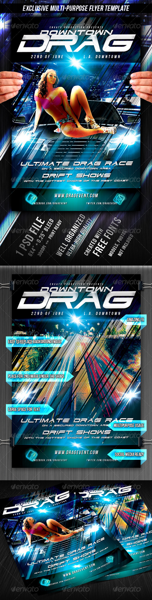 Downtown Drag Flyer Template - Miscellaneous Events