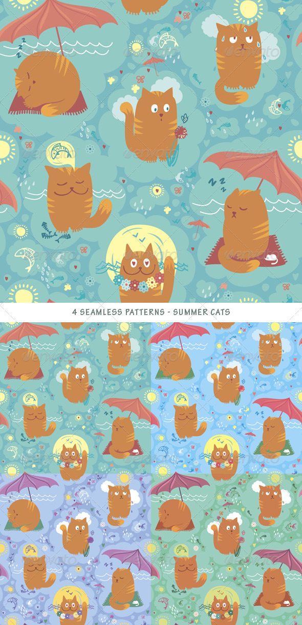 Seamless Pattern - Summer Cats - Patterns Decorative