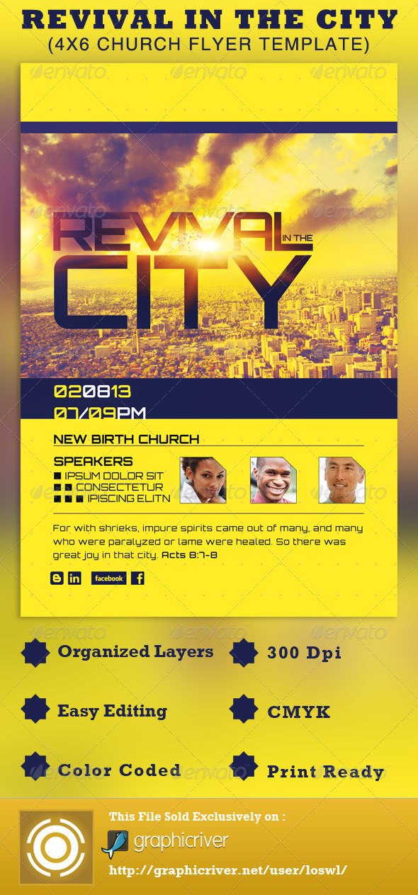 GraphicRiver Revival in the City Church Flyer Template 2689875