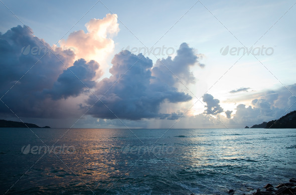 Beautiful sunset in Thailand - Stock Photo - Images