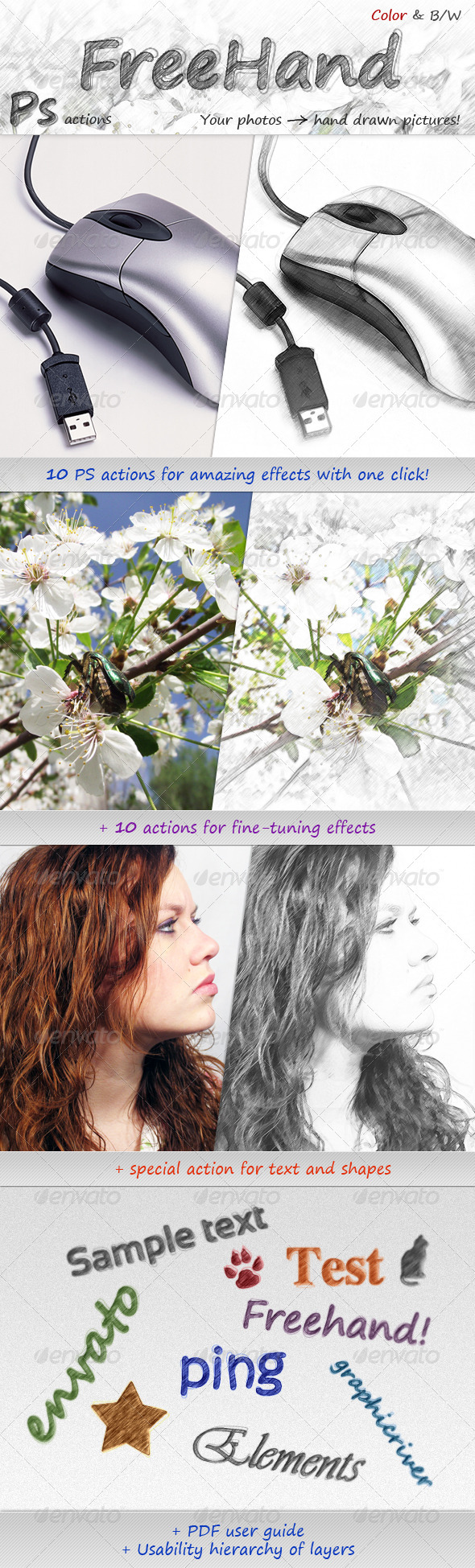 FreeHand - Hand drawn effects - Photo Effects Actions