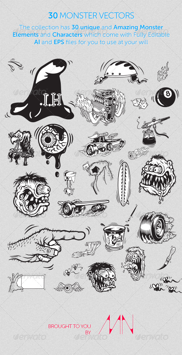 GraphicRiver 30 Monster Vectors 2686303