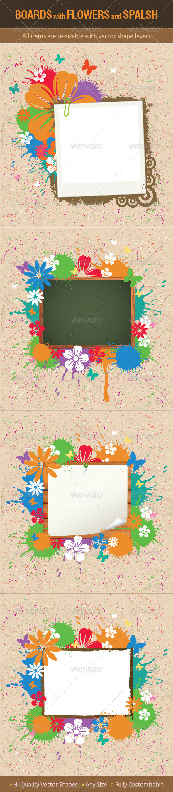 Boards with Flowers and Splash - Backgrounds Decorative