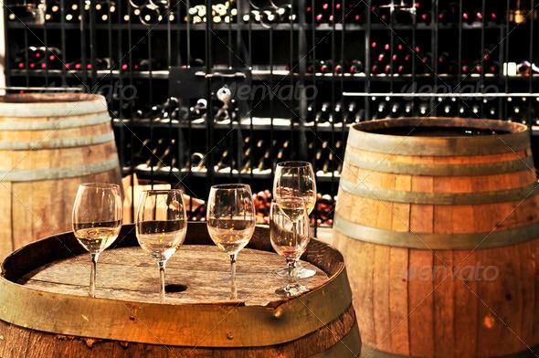 PhotoDune Wine Glasses And Barrels 184138