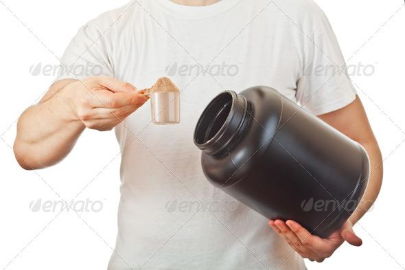 PhotoDune Man preparing his post workout protein shake 2692676