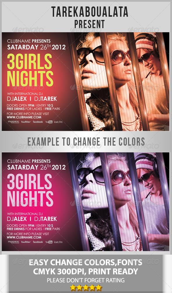 GraphicRiver 3 Girls Night Flyer 2692850
