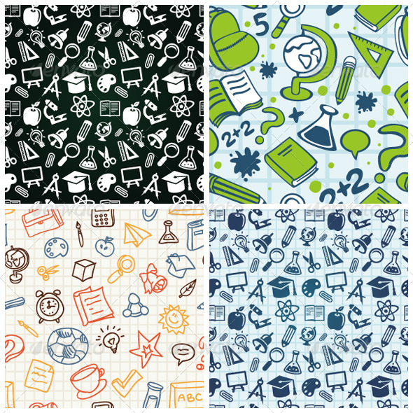 GraphicRiver Vector Seamless Patterns with Education Icons 2694333