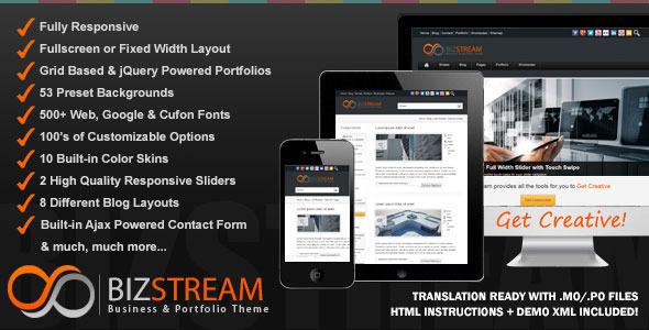 Bizstream - A New Creative HTML5/CSS3 Premium WordPress Theme