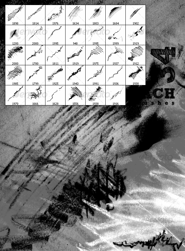 GraphicRiver Hachure brushes 97416