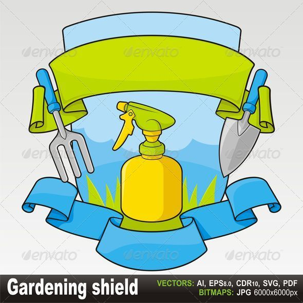 Gardening shield with banners - Borders Decorative