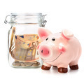 .Business concept. Money savings in glass pot. .