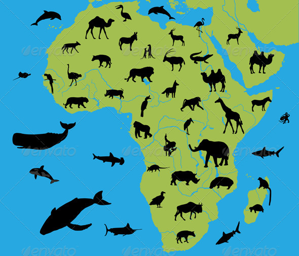 Graphic River Animals of Africa Vectors -  Characters  Animals 298521