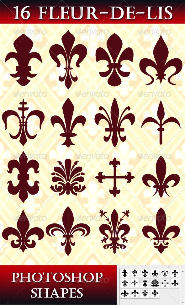 GraphicRiver 16 Photoshop Fleur-de-lis Shapes 2696262