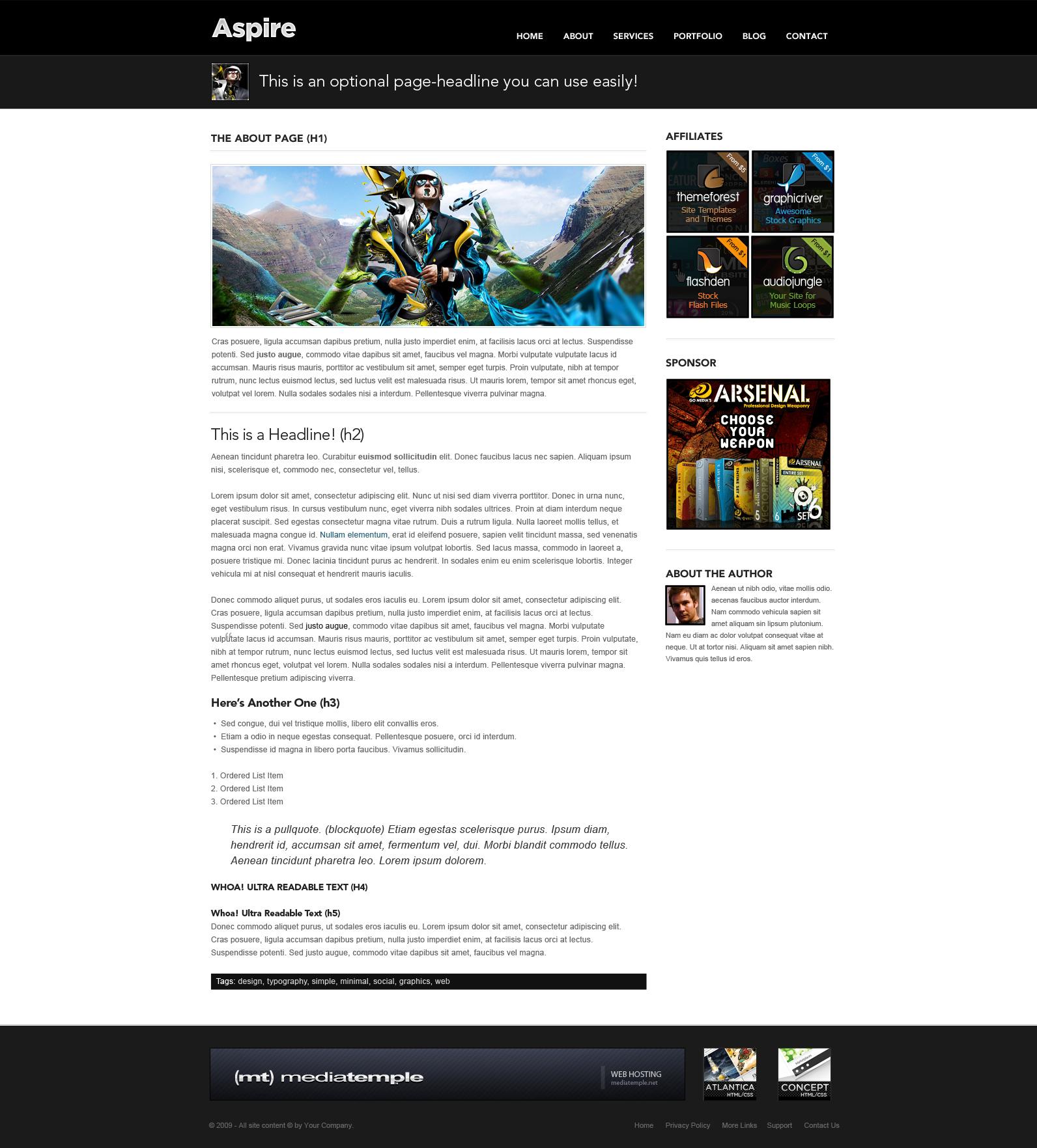 Aspire - Premium PSD - Blog + Portfolio Template