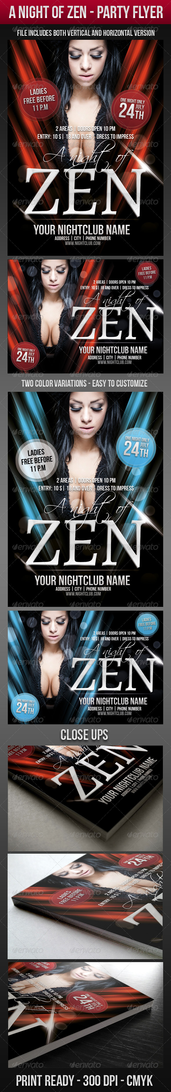 A Night Of Zen Party Flyer - Clubs & Parties Events