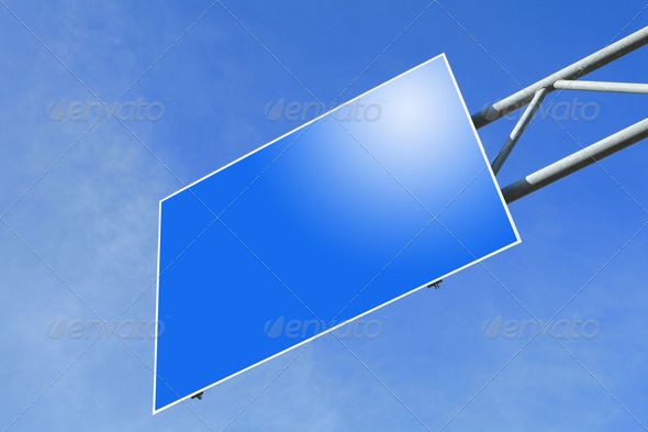 blank Blue Road traffic sign - Stock Photo - Images