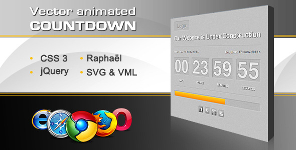 Vector Animated Countdown With Progress Bar - CodeCanyon Item for Sale
