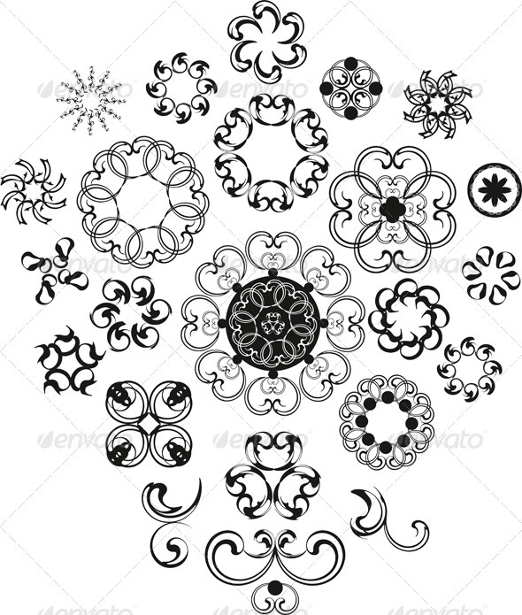 Decorative Vintage Flower Set - Flourishes / Swirls Decorative