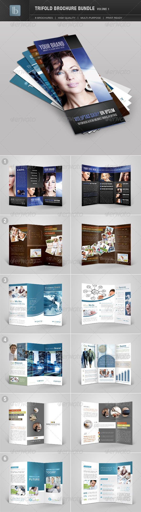 Trifold Brochure Bundle | Volume 1 - Brochures Print Templates