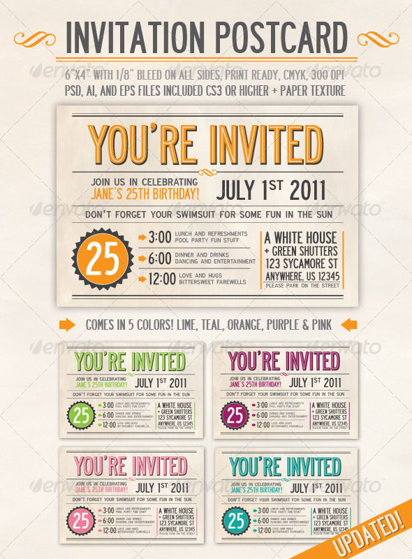 Invitation postcard graphicriver for Read write think postcard template