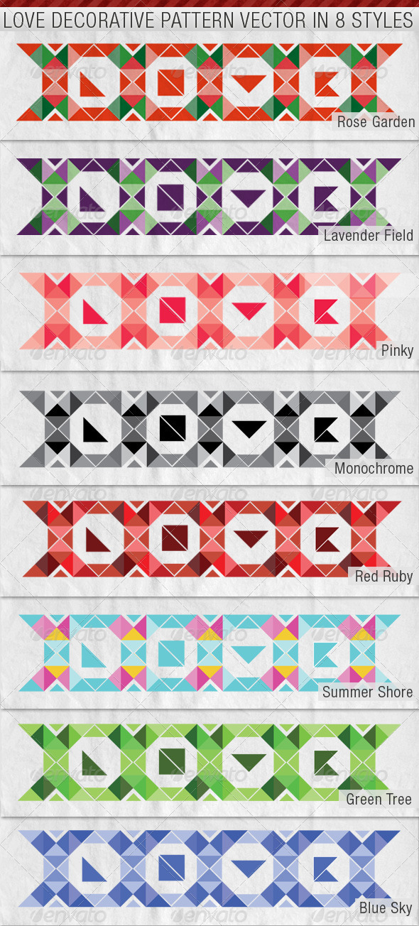 LOVE Decorative Pattern Premium Vector in 8 Styles