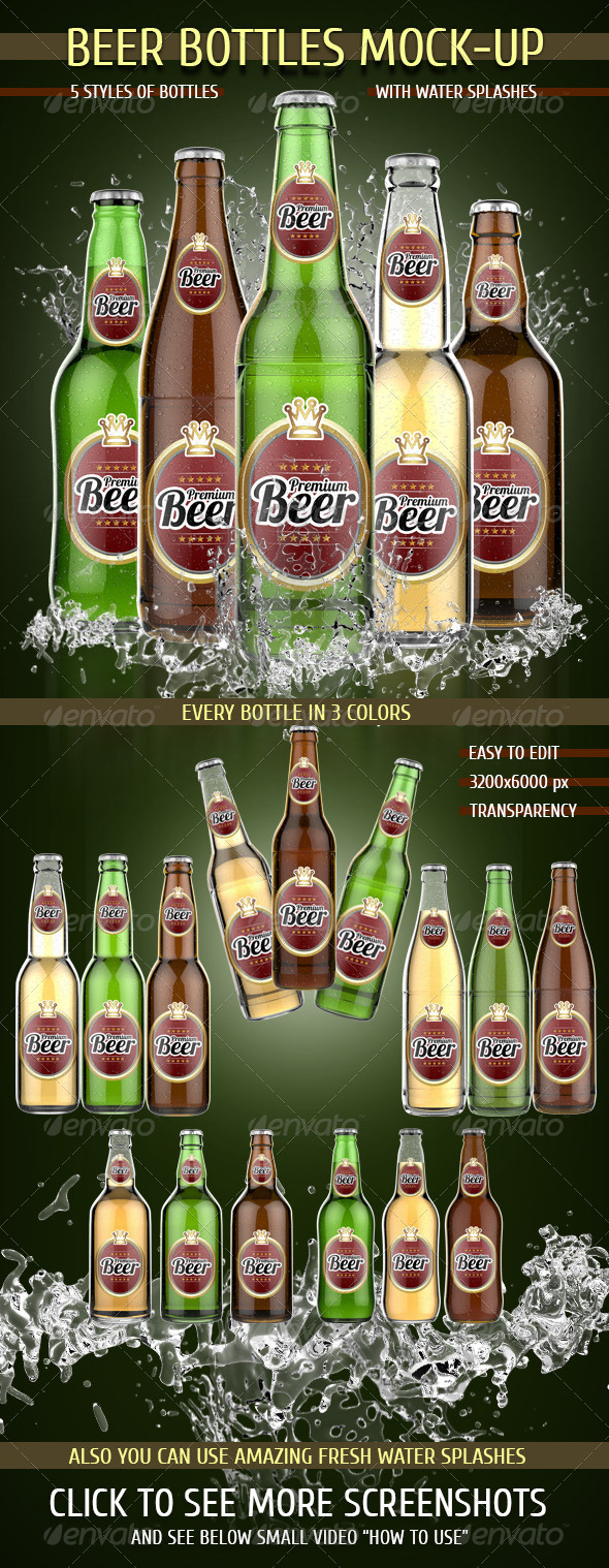 Beer Bottles Mock-Up - Food and Drink Packaging