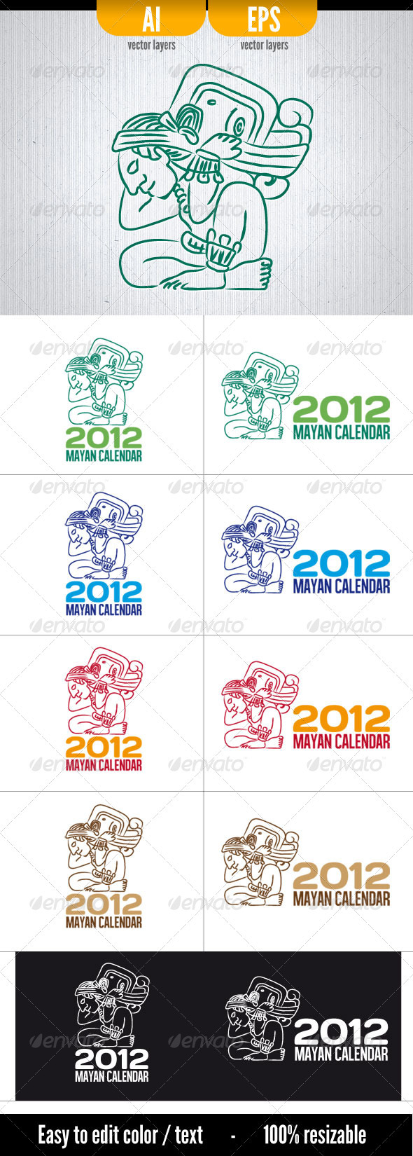 2012 Mayan Calendar - Humans Logo Templates
