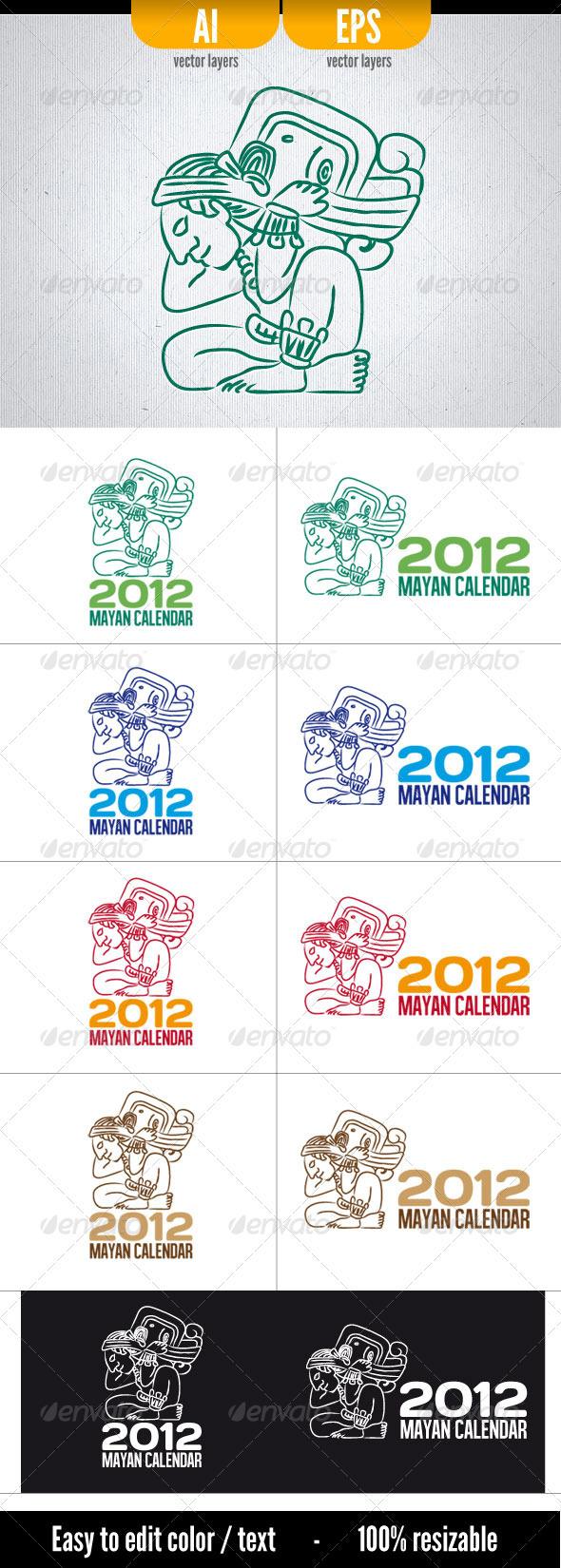 2012 Mayan Calendar - Humans Logo Templates