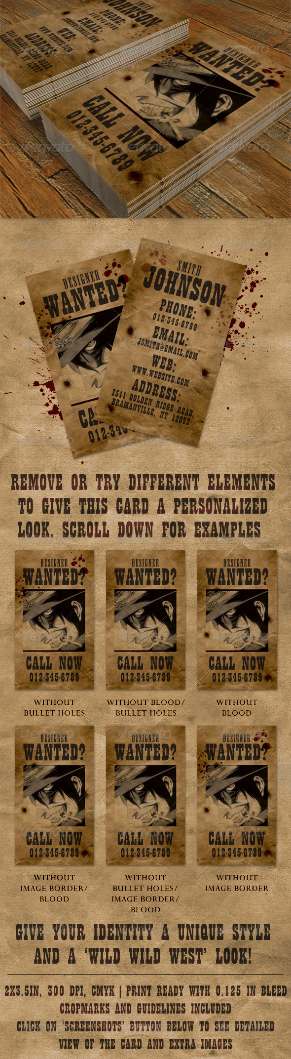 'Wanted' Business Card - GraphicRiver Item for Sale