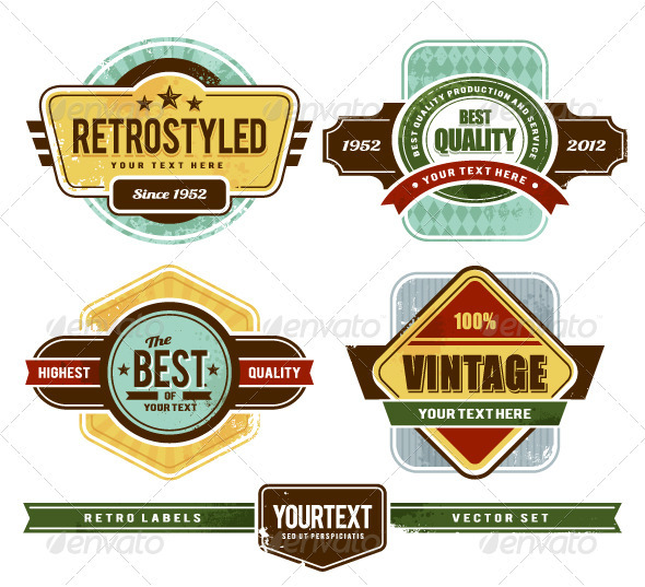 GraphicRiver Vector set of grunge retro badges 2704806