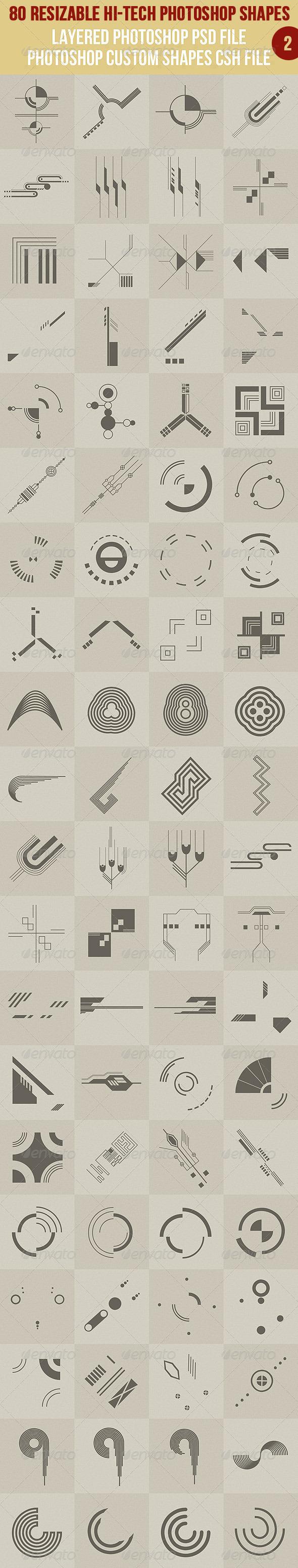 80 Photoshop Hi-Tech Shapes 2 - Symbols Shapes