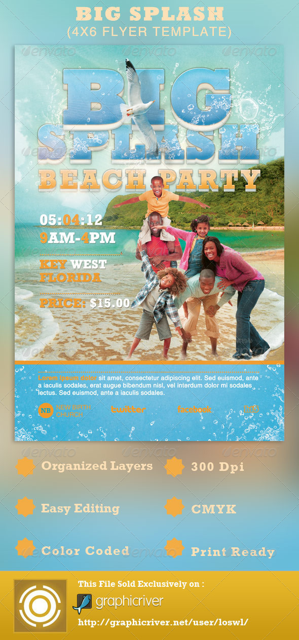 Big Splash Beach Party Flyer Template - Events Flyers