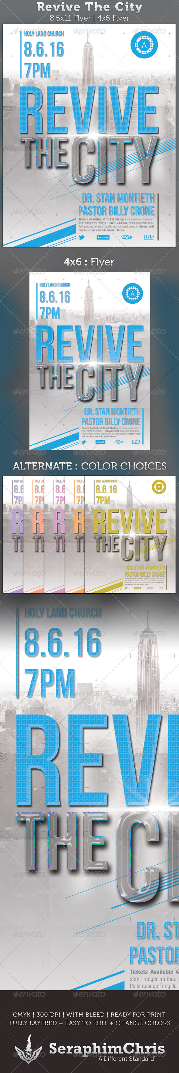 Revive The City Church Flyer Template - Church Flyers