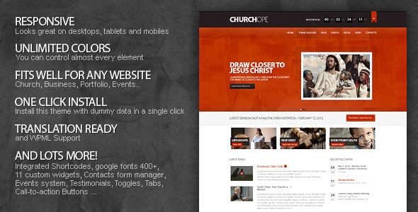 ThemeForest ChurcHope Responsive WordPress Theme WordPress Nonprofit Churches 2708562