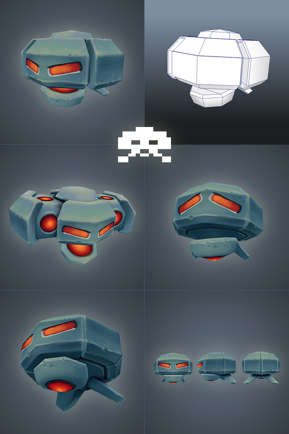 3DOcean Space Invader Alien 02 Low Poly 2708956