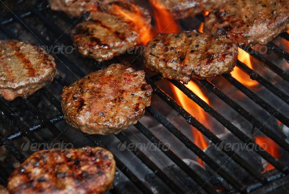 PhotoDune Hamburgers On Barbeque 187538