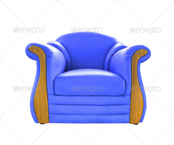 old blue leather sofa isolated on white - Stock Photo - Images