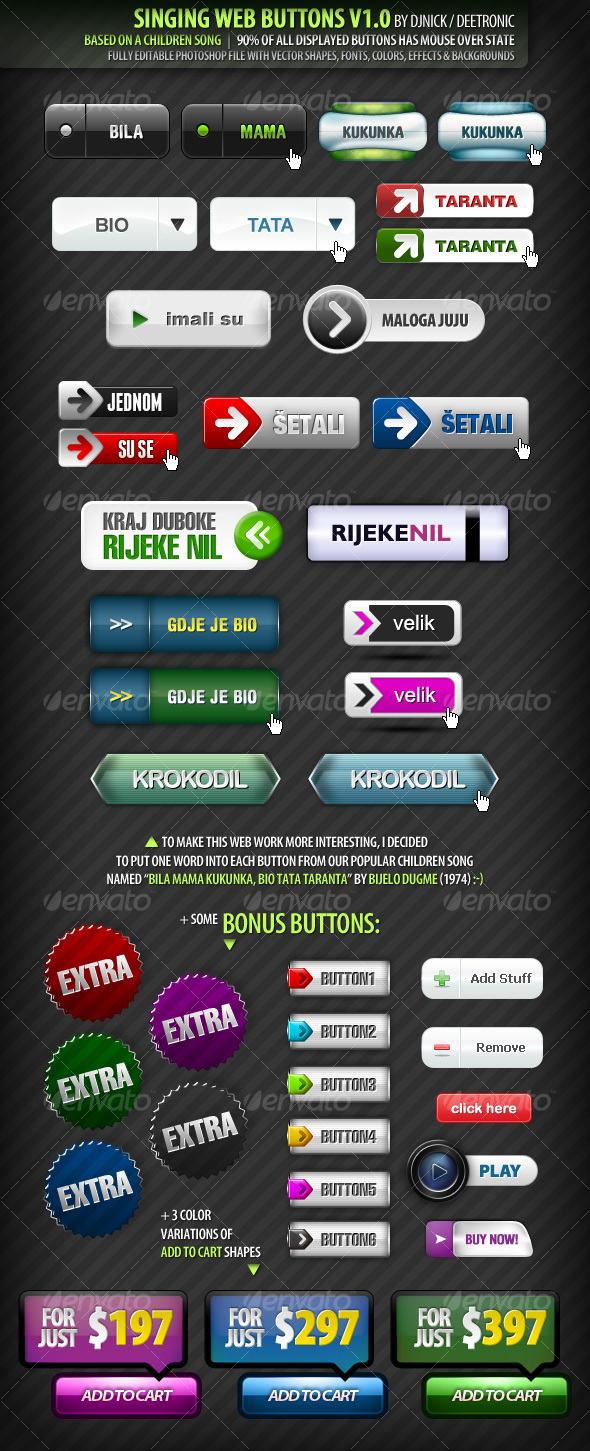 44 Singing Web Buttons - editable layered PSD file - Buttons Web Elements