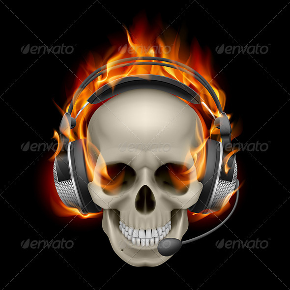 Flaming Skull With Headphones  GraphicRiver