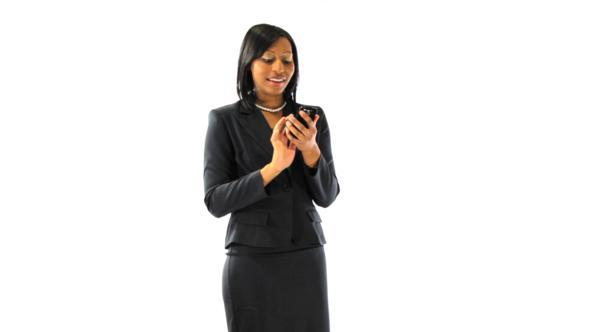 Happy Black Businesswoman Texting