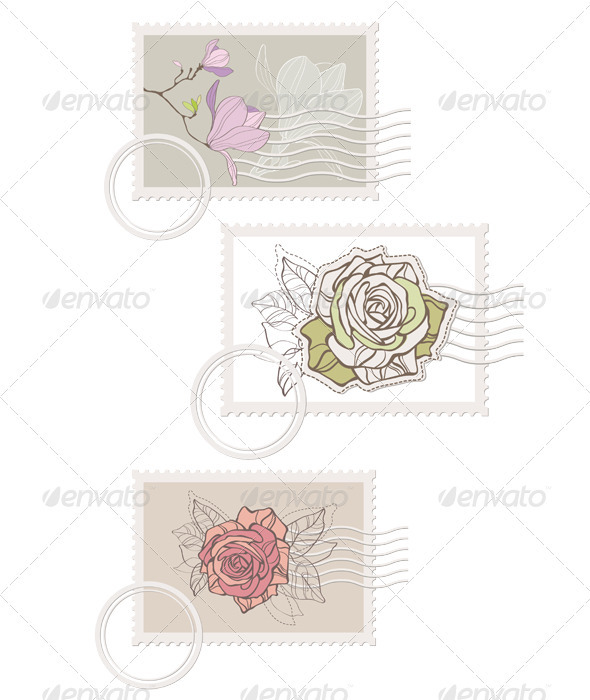 GraphicRiver Blank post stamp with rose 2714149