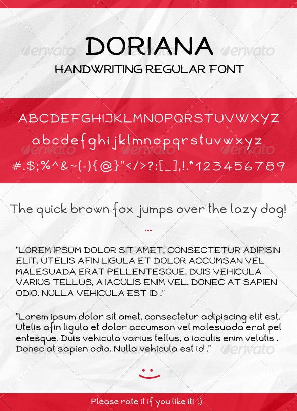 GraphicRiver Doriana Handwriting Regular Font 2715006