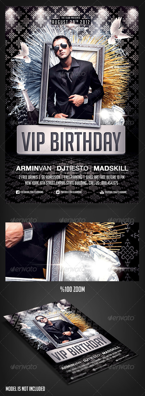 GraphicRiver VIP Birthday Party flyer 2703541