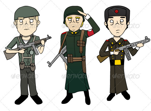 World War 2 Soldiers Illustrations